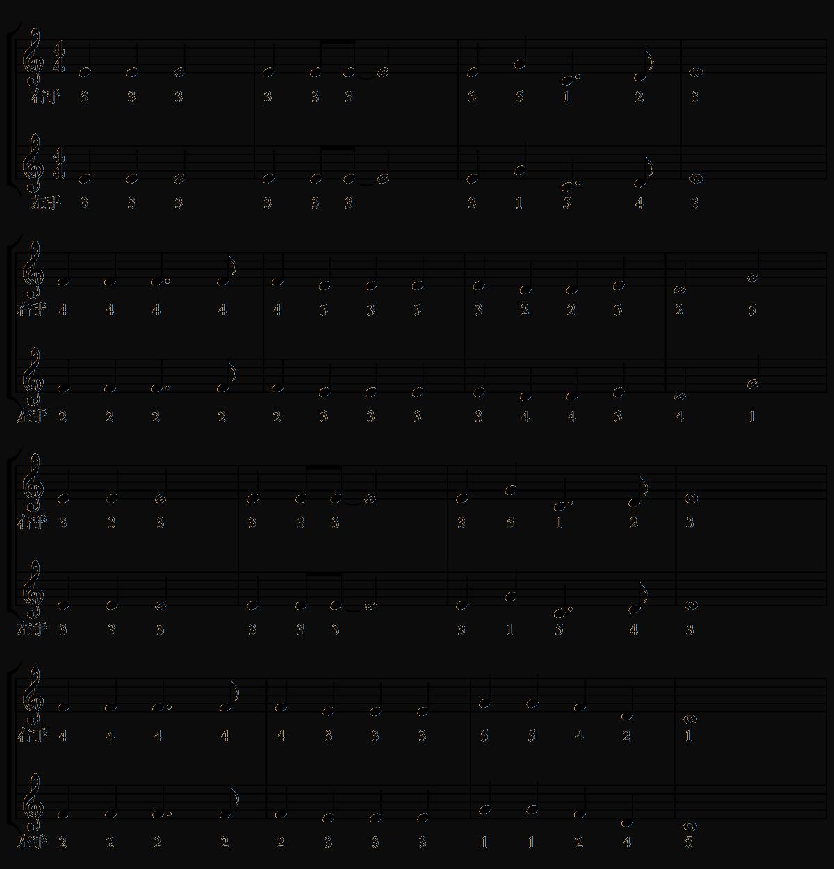 指番号の練習-ジングルベル両手