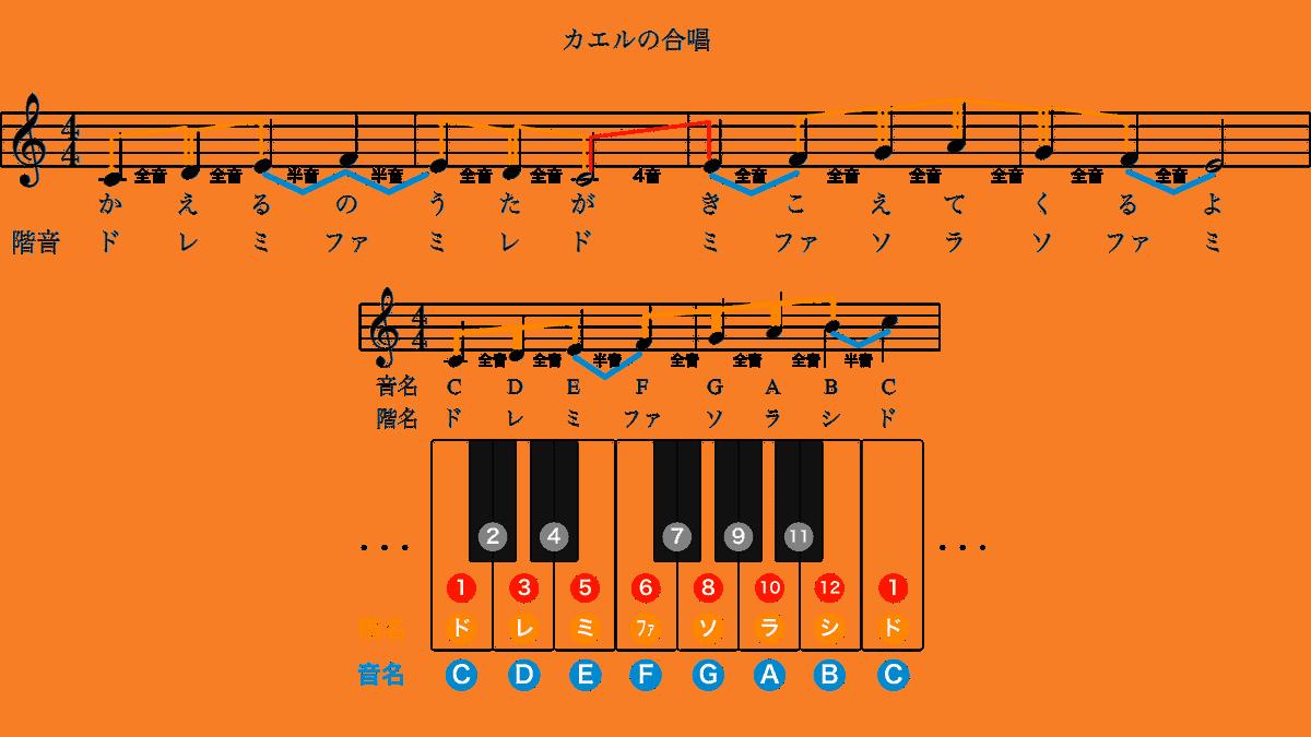 カエルの合唱-ハ長調の楽譜