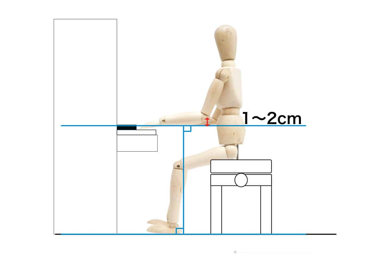 ピアノを弾く姿勢-腕を床と水平にする-2