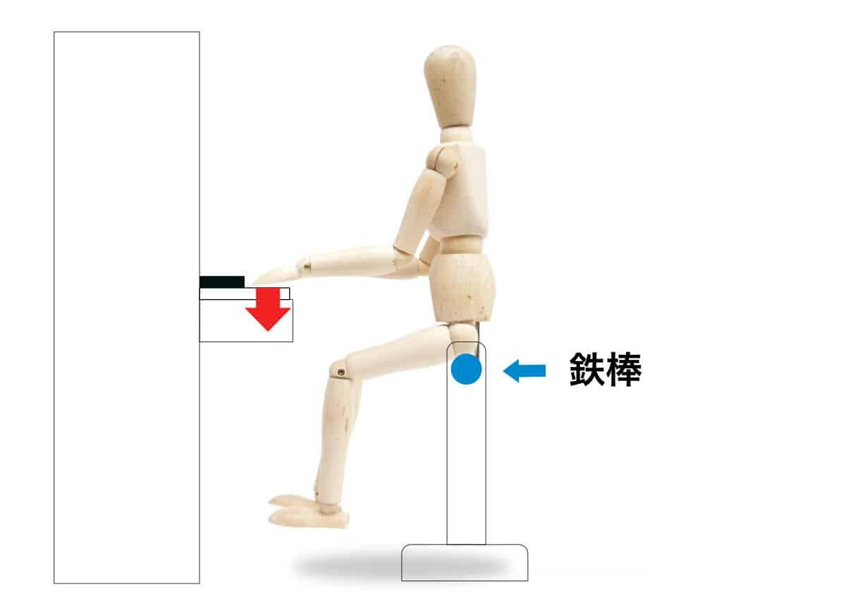 ピアノの椅子の高さの説明-鉄棒に腰掛ける-1の画像
